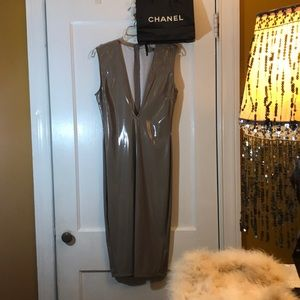 Nude leather , luxury night out dress